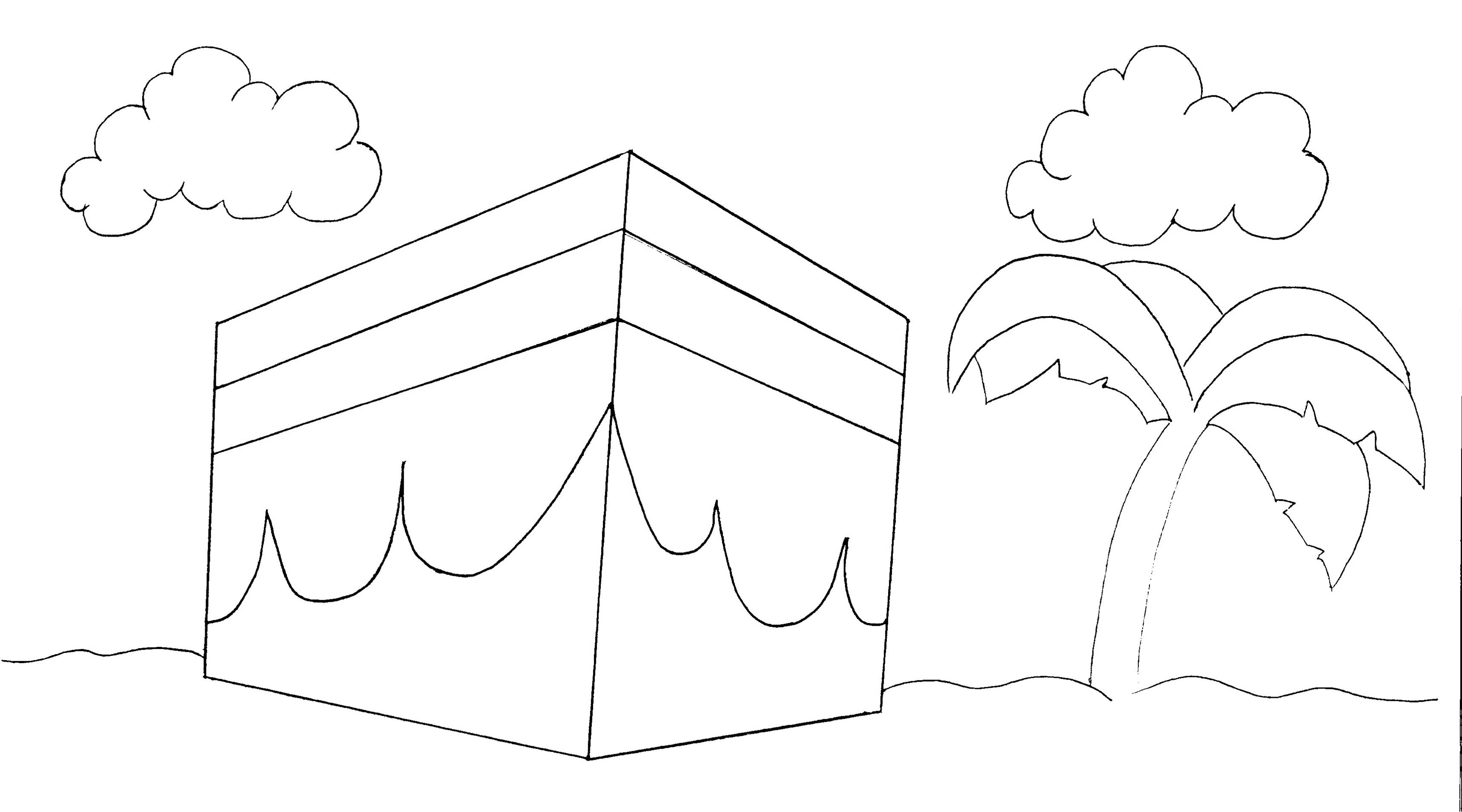 Kaaba Coloring Page Easy Related Keywords Suggestions Hajj Coloring Pages